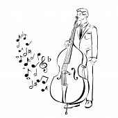 musician playing contra bass  vector  illustration