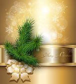 Christmas background with elegant gold banner, christmas tree and a bow.