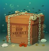 Box in chains at the bottom of the sea. Vector illustration.