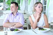 Lovers being unhappy because of  troubled date