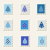 Postal stamps set fir-trees.