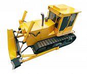 Heavy crawler bulldozer isolated on a white background