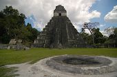 Temple And Altar At Tikal