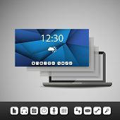 Laptop with Layers and Icons   Business Vector Illustration