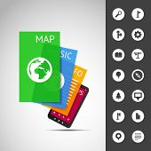 Smartphone With Layers and Icons   Business Vector Illustration