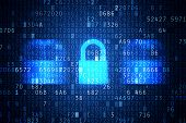 stock photo of lock  - Computer security code abstract image - JPG