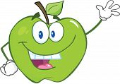 Green Apple Cartoon Character Waving For Greeting