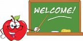 Apple Teacher Character With A Pointer In Front Of Chalkboard With Text