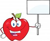 Apple Cartoon Character Holding Up A Blank Sign