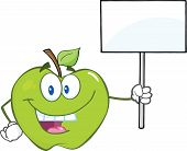 Green Apple Cartoon Character Holding Up A Blank Sign