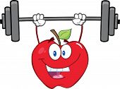 Apple Cartoon Character Lifting Weights