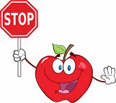Apple Character Holding A Stop Sign
