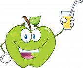 Green Apple Cartoon Character Holding A Glass With Drink