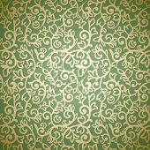 Golden vintage seamless pattern on green background