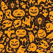Halloween seamless pattern with pumpkin, cat, bat, ghost, skull, etc