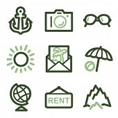 Travel icons set 5, green line contour series