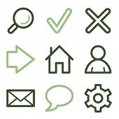 Basic web icons, green line contour series