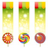3 bright banners with lollipops
