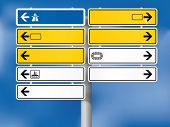 Blank german directional signs. Fully shaded. Background, skeleton, plates, shadows, arrows and symb