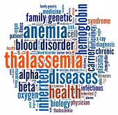foto of hemoglobin  - Thalassemia in word collage - JPG