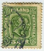 ISLAND - CIRCA 1907:A stamp printed in Island shows image of the Christian IX  was King of Denmark a