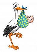 stock photo of baby delivery  - Stork with newborn baby for childbirth concept - JPG