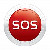 Sos button. Vector red round sticker.