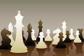 Editable vector illustration of chess pieces in a game