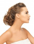 health and beauty concept - face of beautiful bride with evening updo (can be used as a template for