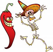 Mischievous Red chili scaring a Mexican skeleton