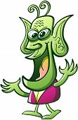 stock photo of bulge  - Nice green alien with long antennae - JPG