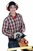 Apprentice with chain saw