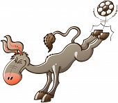stock photo of enthusiastic  - Excited gray donkey with big ears kicking violently a soccer ball with the hooves of his hind legs while smiling enthusiastically and clenching his eyes - JPG