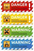 Danger and warning color banner collection