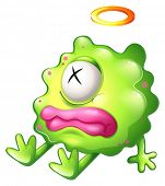 Illustration of a dying green monster with pink lips on a white background