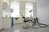 Modern bright treatment room in dental practice with dental chair