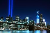 stock photo of tribute  - Brooklyn Bridge and the Towers of Lights  - JPG
