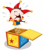 picture of jack-in-the-box  - Illustration of a funny cartoon jack in the box puppet toy character jumping and smiling - JPG