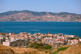 stock photo of messina  - Messina strait view from a calabrian coast - JPG