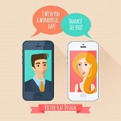 Phone conversation between a man and a woman. Flat style