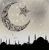 pic of sufi  - istanbul mosque silhouette and calligraphy moon and stars - JPG