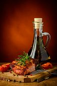 Grilled Meat And Olive Oil