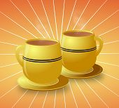 Yellow Cups Of Hot Coffee On Starburst Background