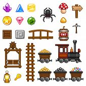 stock photo of locomotive  - Set of mine assets for game - JPG