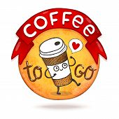 Cute cartoon coffee badge. Vector illustration