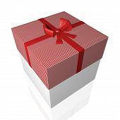 Gift Box With Red Bow Ribbon Isolated