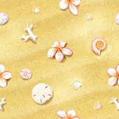 stock photo of sand dollar  - Seamless Sand Background with Flowers - JPG