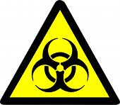 stock photo of biohazard symbol  - Illustration of a yellow biohazard warning symbol - JPG