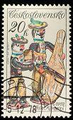 CZECHOSLOVAKIA - CIRCA 1978: A stamp printed in Czechoslovakia, shows porcelain figurine musicians