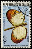 TOGO - CIRCA 1991: A stamp printed by Togo, shows Atopani drum, circa 1991